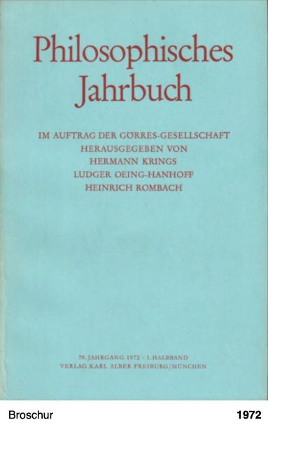 Philosophisches Jahrbuch 1972 - Peter Sloterdijk