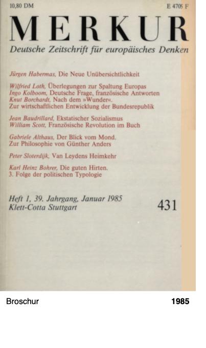 Merkur - Deutsche Zeitschrift für europäisches Denken - Jan. 1985