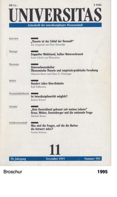 UNIVERSITAS - Zeitschrift für interdisziplinäre Wissenschaft 1995